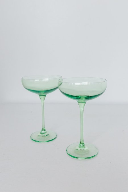 Estelle Colored Glass Coupe Glasses - Mint Green