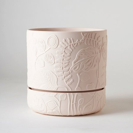 Angus & Celeste Folia Relief Plant Pot - Soft Pink
