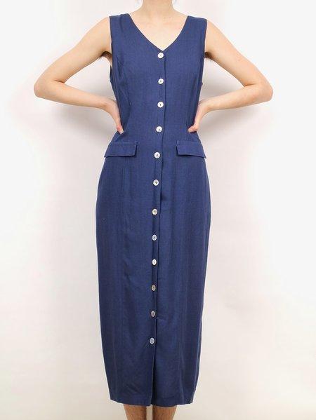 Vintage button down midi dress - navy