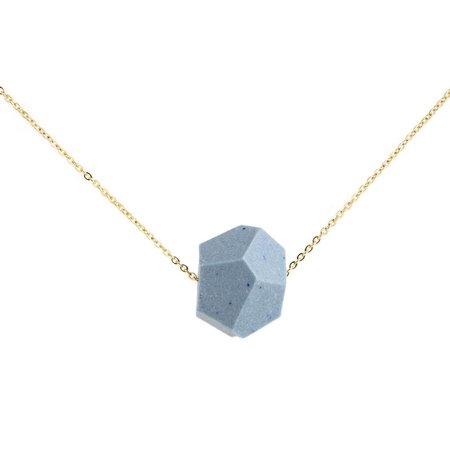 Mabel and Moss Faceted Porcelain Necklace - Sky Blue