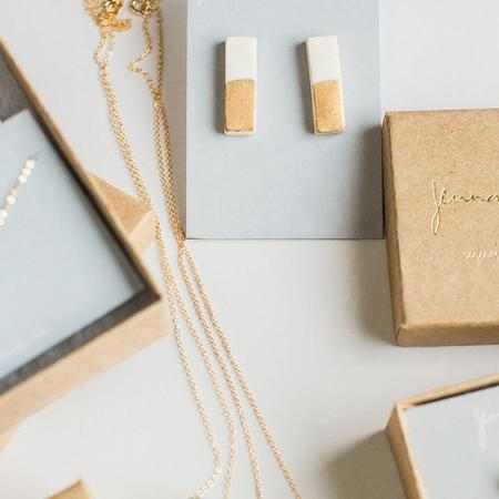 Mabel and Moss Matte Dipped Rectangle Studs - Gold