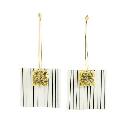 Mabel and Moss Pinstripe Square Drop Earrings - Gold