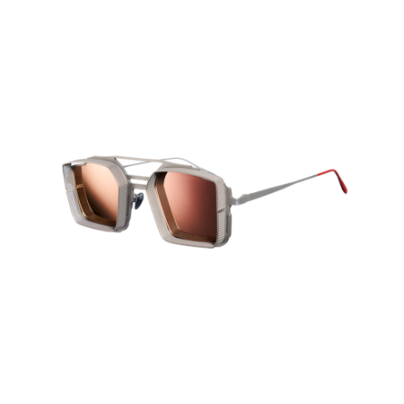 Unisex VYSEN Eyewear Luigi Silver Matte Frame Rose Gold L-4 Sunglasses