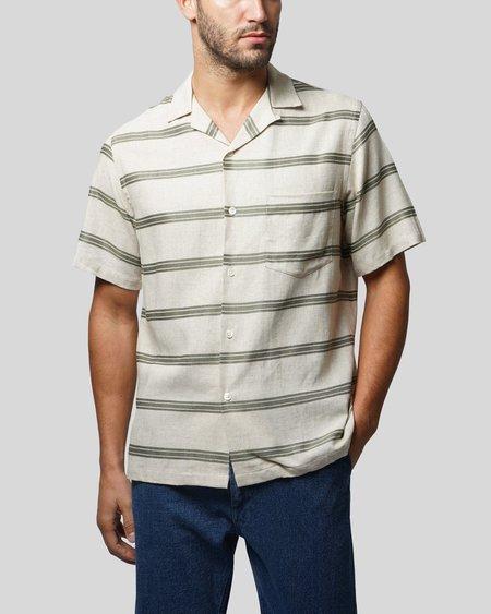 Portuguese Flannel San Francisco Shirt - Olive Stripe