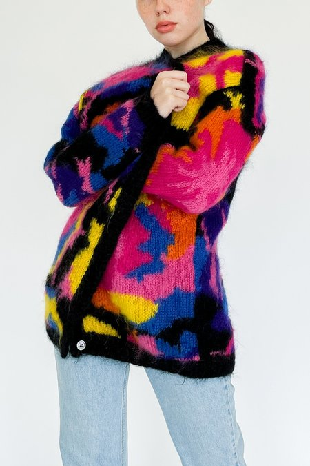 Vintage Shannon Evanhaus Abstract Mohair Cardigan Sweater - multi