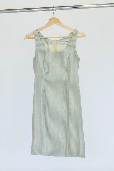 Vintage Armani Slate Striped Linen Dress - GREEN