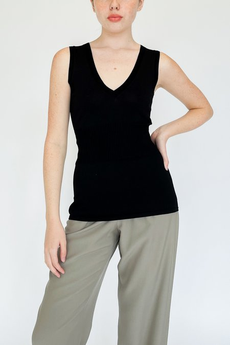 Vintage Knit Fitted Tank - black