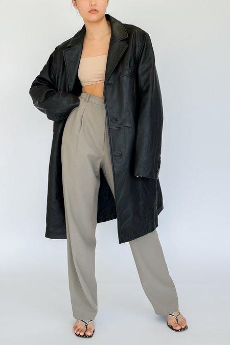 Vintage Long Leather Jacket - black