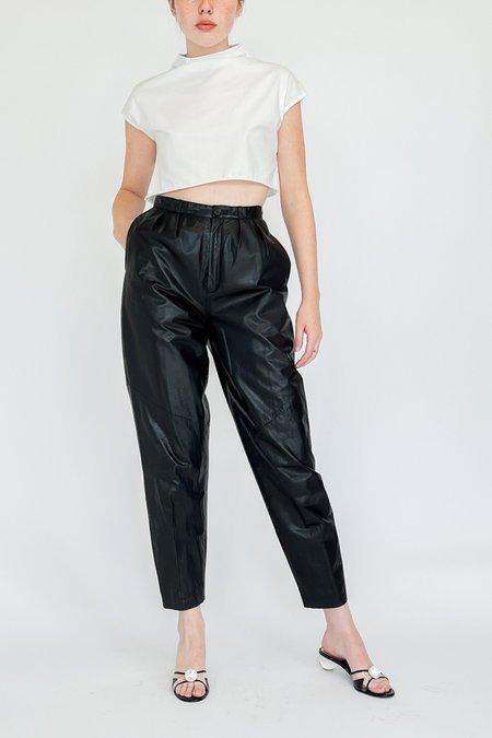 Vintage Pleated High Rise Leather Pants - Black