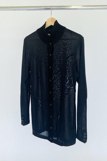 Vintage Sheer Mesh Tunic Top - Black
