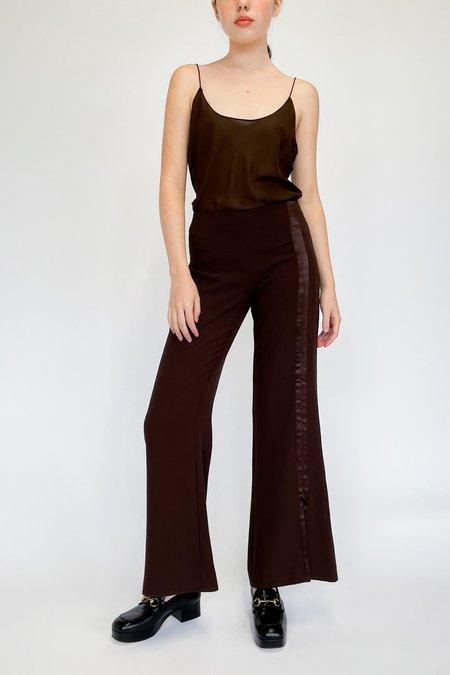Vintage Caché Satin Zipper Flare Pants - cocoa