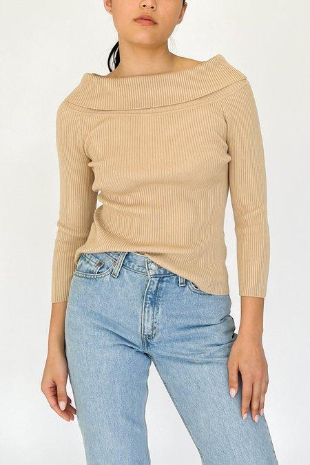 Vintage Off The Shoulder Knit Top - camel
