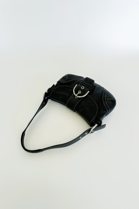 Vintage Coach Black Leather Buckle Mini Purse - black