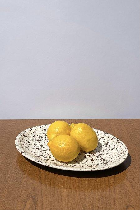 Vintage Cocoa Speckled Oval Ceramic Platter