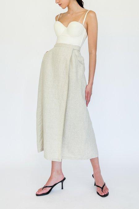 Vintage Linen Wrap Skirt - Ecru