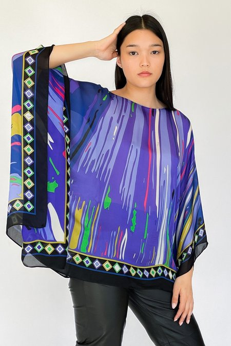 Vintage Emilio Pucci Silk Poncho Shirt - multi