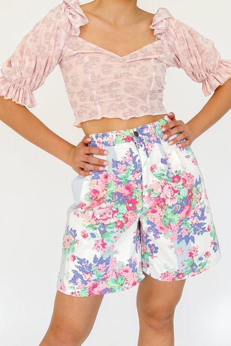 Vintage Denim Shorts - Floral Print
