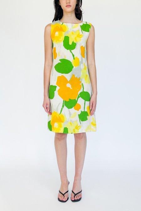 vintage Cotton Twill Dress - Flower Print