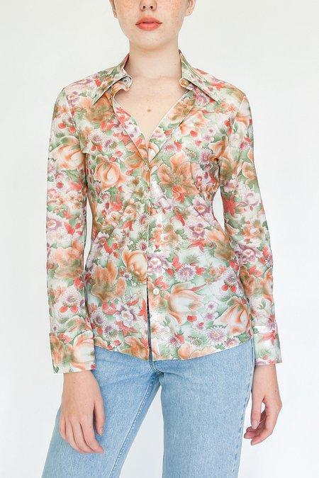 Vintage Collared Shirt - Garden Print