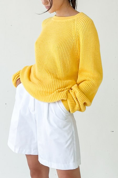 Vintage Ribbed Knit Sweater - Yellow