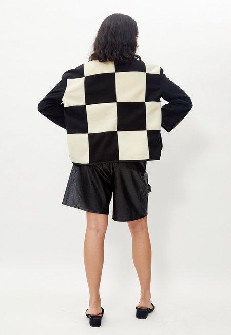 Grön Kulle Lu Fleece jacket - Black/Off White Check