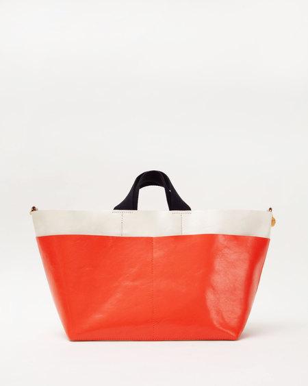 Clare V. Poche Bateau - White/Blood Orange