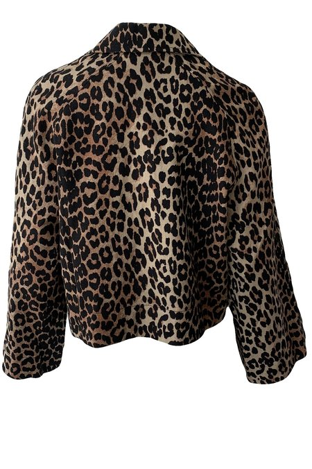 Ganni Linen Canvas Jacket - Leopard