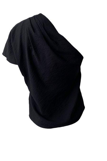 VINCE One Shoulder Cascade Drape Top - BLACK