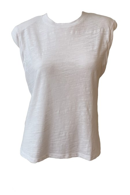 The Range Strata Slub Shoulder Pad Muscle Tee - White