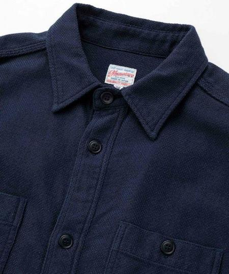 Momotaro Jeans Dobby Cloth Work Shirt - Navy