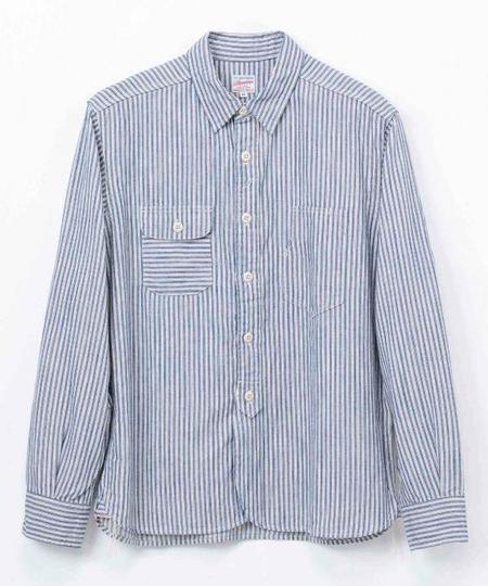 Momotaro Jeans Selvedge Stripe Shirt - White/Indigo