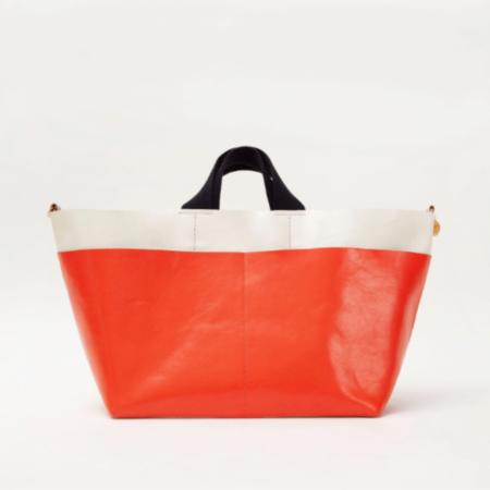 Clare V. Poche Bateau Tote - White/Blood Orange