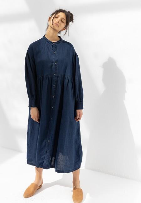 ICHI ANTIQUITES 600933 LINEN DRESS - DARK
