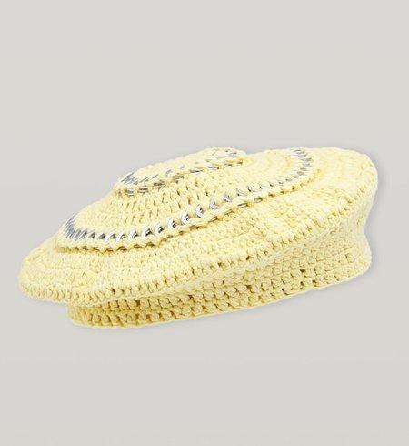 Ganni Cotton Knit Beret - Pale Banana