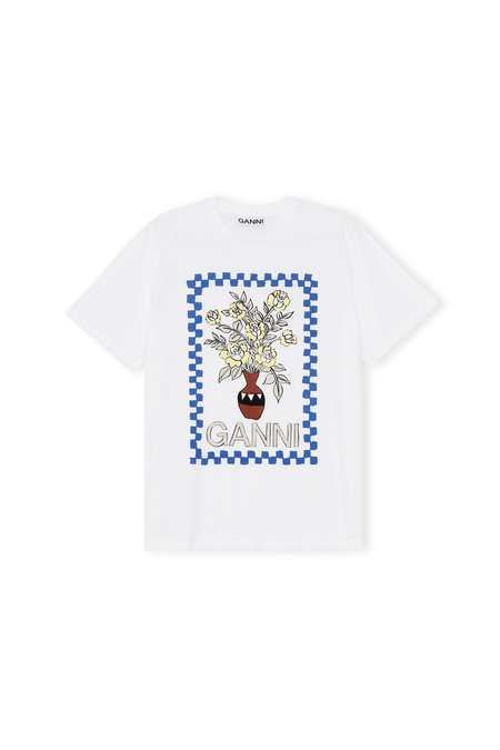 Ganni Vase Graphic Cotton Jersey T-Shirt - Bright White