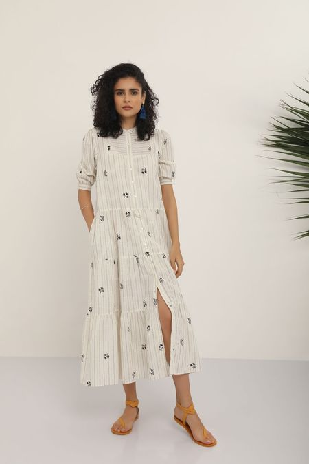 Kopal Blockprinted Dress - Black/White Stripe