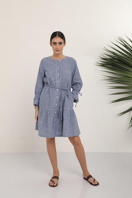 Kopal Striped Day Dress - Blue/White Stripe