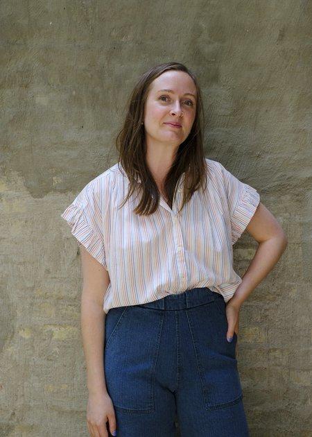 Trovata Marianne Ruffle Sleeve Shirt - Parker Pinstripe