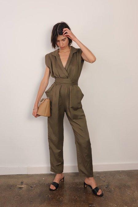 En Saison Linen Jumpsuit - Olive
