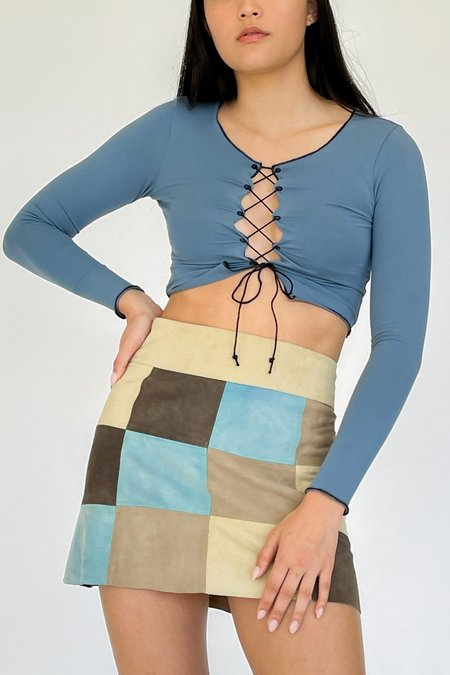 Vintage Checkered Suede Mini Skirt - multi