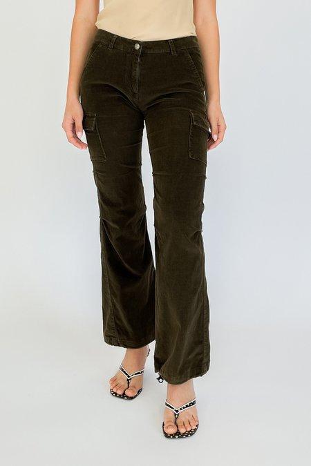 Vintage Moss Mirco Corduroy Baby Flare Pants - black