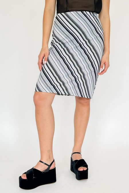 Vintage Striped Rhinestone Silky Knit Skirt - white/gray/black