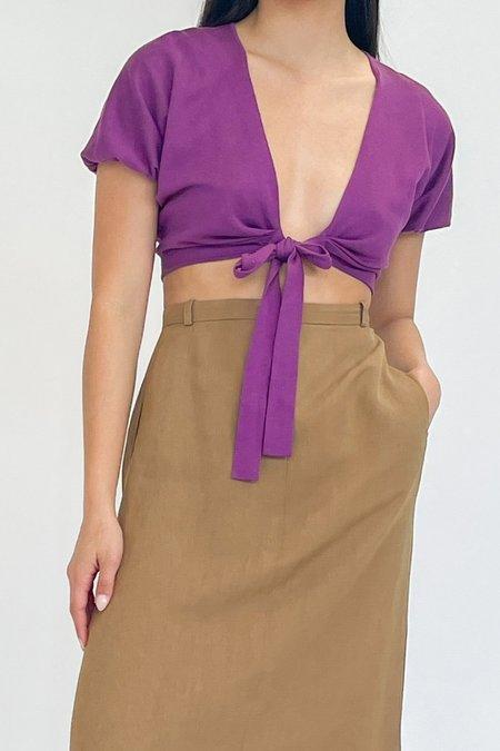 Vintage Cropped Wrap Top - Violet