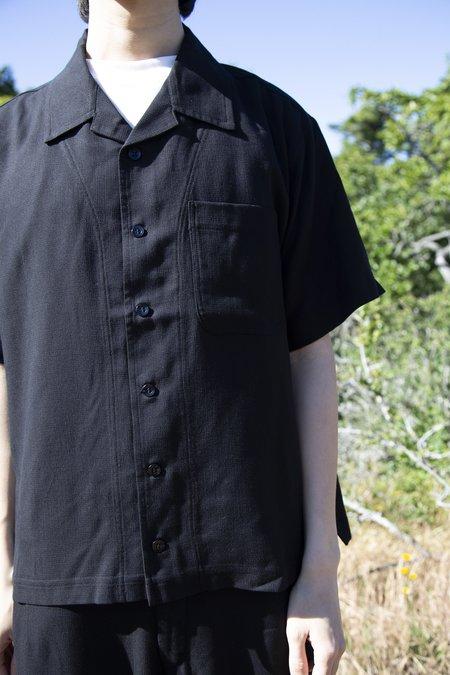 FOUR HORSEMEN Tencel Camp Shirt - Black