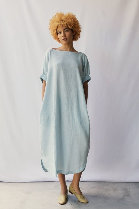 at Dawn. Boatneck Relax Long Dress - Light Blue