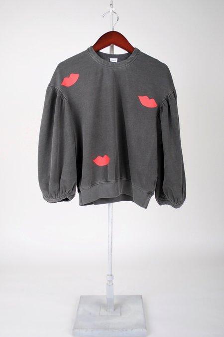 Clare V. Drop Shoulder Sweatshirt - Faded Black/Poppy Lips