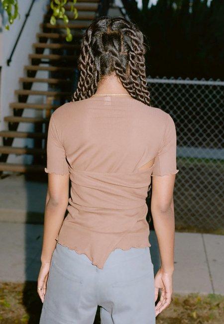 Baserange Kosa Wrap T-Shirt - Loam Brown