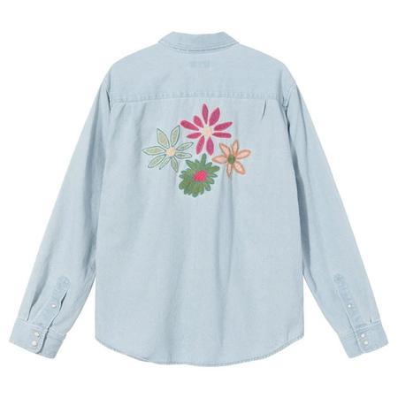 Stussy Flower Emb. Denim L/S Shirt - Light Blue