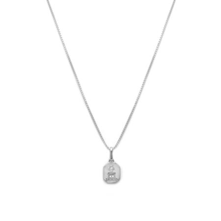 Leah Alexandra Love Token Necklace - Square/Silver