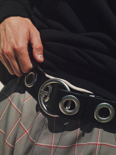 Marni Calfskin Oversized Metal Eyelets Belt - BLACK